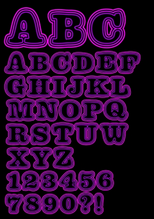 znaczna: Alphabet uppercase neon set in purple, including numbers, question mark and exclamation mark. Significant bold rounded font, vector EPS 10
