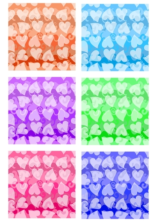 sampler: Set of cheerful patterns with heart shape in different color variants. Textile color sampler. Vector EPS10 seamless background Vectores