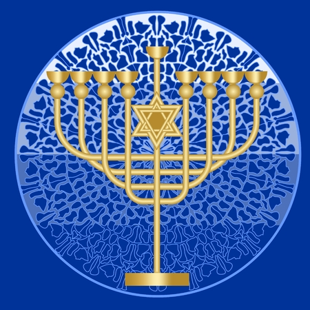 shalom: Classic antique gold candlestick, nine-branched candle holder with David star, symbol of jewish feast of Hanukkah on mosaic patterned circle blue and white background