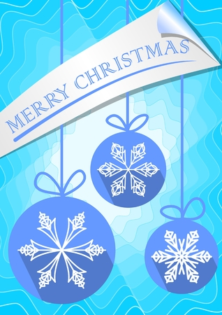 paper strip: Modern christmas leaflet or greetings card template with three blue balls. Snowflakes in modern design with long shadow. Merry christmas blue inscription on paper strip with rolled corner. Blended blue shape on background.