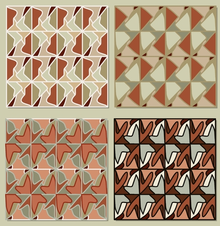 muted: Set of repeatable patterns in muted retro colors, vector background decorative tile Illustration
