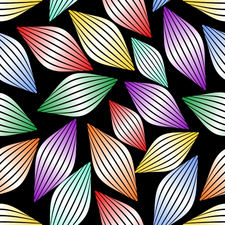 spheric: Seamless abstract background with stripped gradient multicolored spheric elements on black area. Vector EPS10 Illustration