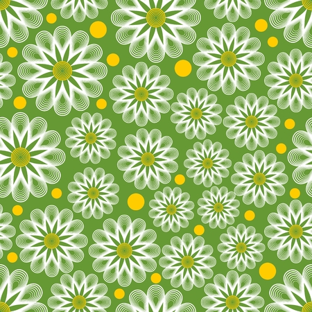 marguerite: Light green seamless vector background with outline white marguerites and yellow dots. Cheerful background for spring design. Concept for textile or wrapping paper print.