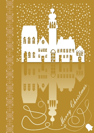 Christmas card with old city idyllic white silhouette on gold background with mirror image, inscription merry Christmas. Calligraphic curve and fine filigree patterns on left edge. Illustration