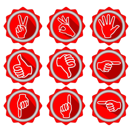 circle objects: Set of icons with hand gestures in modern flat design with long shadow, red circle objects with white line drawing, gear shape, vector eps10