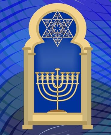 Nine branched candle holder and David star in synagogue window. Gold Hanukkah symbol on dark blue wavy background.