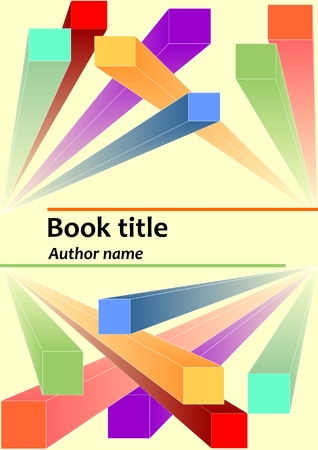 descriptive: Book cover template with abstract prismatic 3d colorful elements. Descriptive geometry shapes in space. Useful as leaflet, poster, flyer, textbook, publication or magazine template.