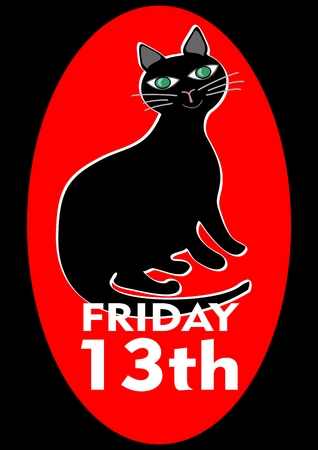 Black Friday 13th poster with good-natured pleased fat black cat. Vector EPS 10 Illustration