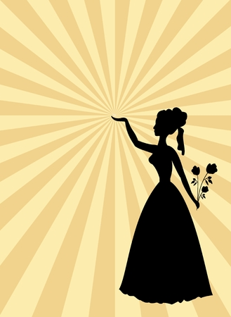 solemnization: Woman black silhouette on beige and gold rays patterned background. Lady with roses bouquet and raised hand. Template in old style for party or ball invitation