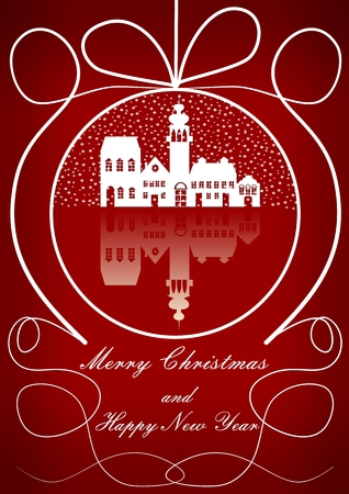 merry chrismas: Elegant christmas background with old city in snowfall motif in christmas ball outline shape. White drawing on dark red gradient area. EPS10 vector christmas card template.