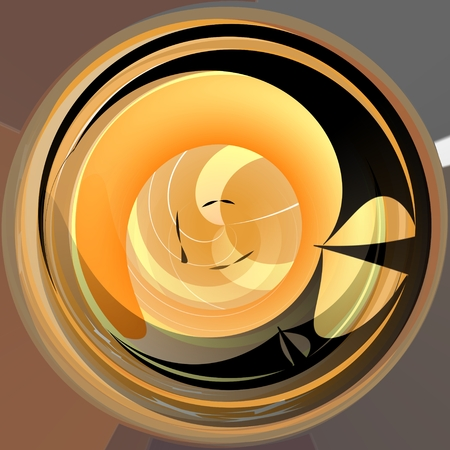 contrasting: Abstract yellow circle shape background with contrasting dark twirl