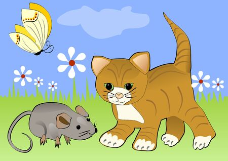 Kitten watching mouse on the green blooming meadow. Yellow butterfly flying over white flowers. Cheerful spring illustration with cartoon animals.