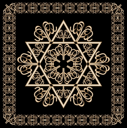 magen: Luxury golden ornament with David star motif in filigree gold frame on black background. Jewish religious and national hexagram symbol named in hebrew magen.