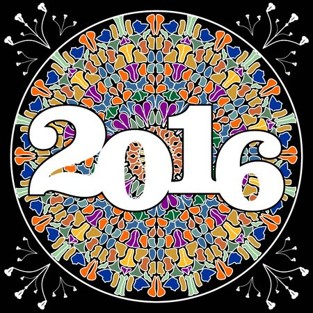 pied: New year 2016 party billboard with pied mosaic mandala on black background. Illustration