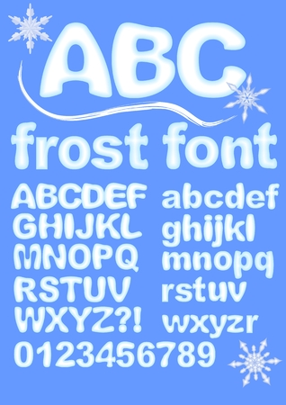 ice alphabet: Alphabet in ice design. Uppercase, lowercase, numbers, exclamation and question mark for winter design. Snowflake shapes included. Grunge rounded characters in white and blue.