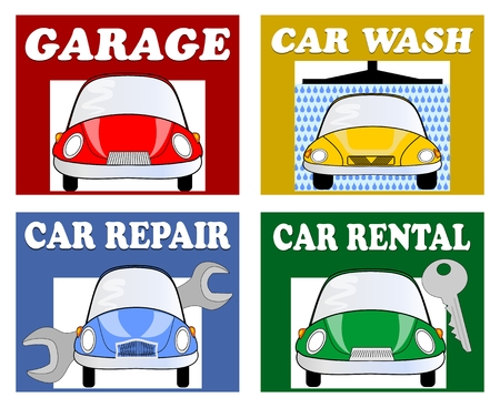 the motorists: Services for motorists and drivers - garage, car wash, car repair, car rental. Set of multicolored billboards with car cartoon and white inscription. Infographic pictograms for navigation.