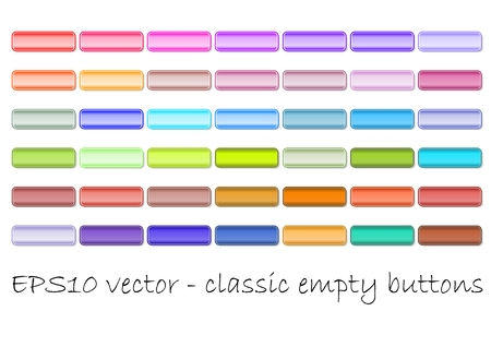 Set of classic empty web buttons in different color shades. Useful for hover effect. Soft and vivid color gradient, fine frame.