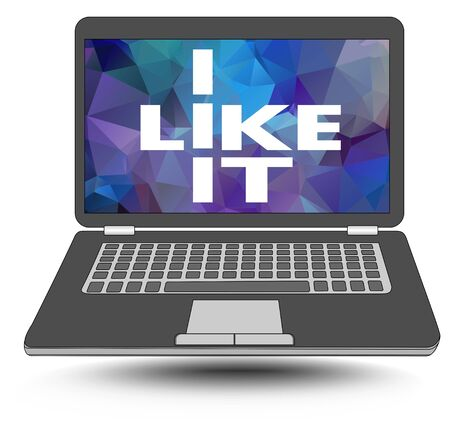 like it: I like it. I like information technology. Laptop with a pun - white inscription on polygonal background. Advertising banner element for sellers of information technology. Illustration