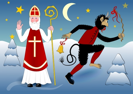 miter: Blessing Saint Nicholas in traditional white clothing with cross, miter, a crosier. Beside him crazy dancing devil with a scourge and bell. The scene in snowy winter evening landscape with moon and stars Illustration