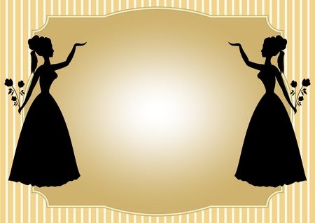 victorian lady: Mirror silhouette of a Victorian lady with a bouquet of roses on a pale yellow striped background. Place for your own text - invitation to a dance, feast, celebration, cultural program. Luxury template for printing.