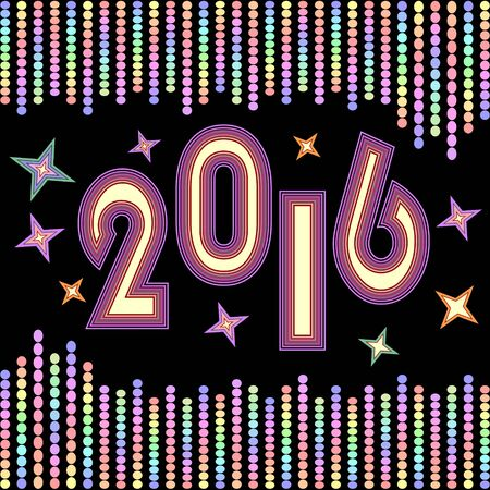 disco era: New year 2016 background with chains of vivid colored confetti and colored stars on black background. Decoration for New year celebration party.