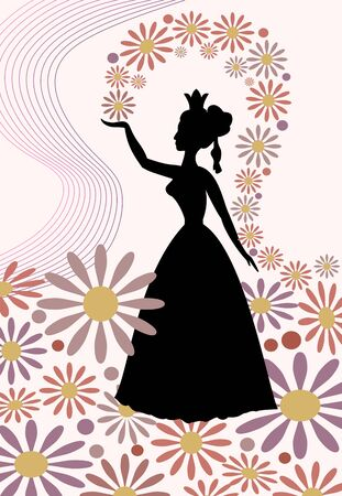 tender sentiment: Silhouette of a lady with royal crown, throwing flowers over her head. Romantic spring motif with queen of spring in tender pink and purple. decoration for spring design