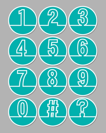 number icons: Set of artistic line number in circle shapes, white outline on trendy green background, included hash tag symbol and question mark. Number icons for infographic template Illustration