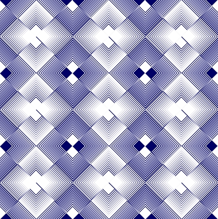 inverse: White and blue rhomboid regular patterns in inverse repeating design Illustration