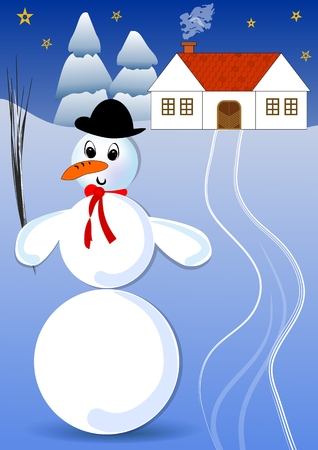 dusky: Snowman with bowler hat and red scarf in a snowy landscape with rural house and spruce trees. Dusky winter idyllic image, the snow lit up the darkened landscape