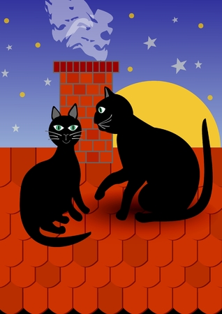 supporter: Black cat with tomcat by chimney on red roof, dark evening sky with stars on background. illustration for fancier and supporter of cats. Gorgeous cover for book about cats or animals.