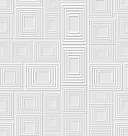 contrasting: Neutral low contrasting seamless background composed of soft embossed squares and rectangles, abstract tile
