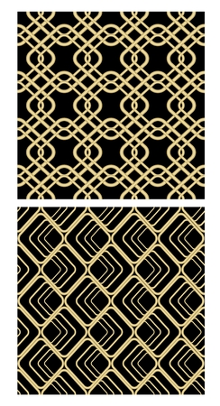 revival: Golden grid seamless decorative tile on black background, simple geometric net in revival style