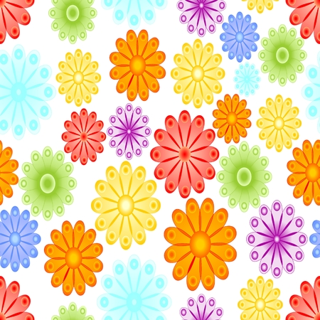 orange blossom: Cheerful spring background with abstract flower motif. Green, yellow, blue, red and orange blossom on white background. Seamless vector tile.