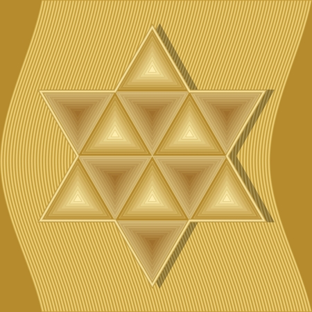 hebrew bibles: David star, symbol of jew, judaism and Israel composed of golden embossed triangles on gold wavy abstract background. Sign of equilibrium
