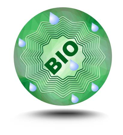 certainty: Bio label in green - star on green triangle background with drops on clear water, in middle inscription bio. Useful as sticker for natural bio products, drink or food
