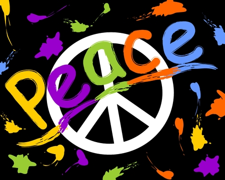 peace movement: Grunge anti war flyer with anti war symbol in hippies retro style. Rainbow inscription peace and colorful spray splashes