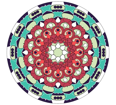 obtaining: Mandala in vivid colors for energy obtaining. An aid to meditation exercises, red and green geometric pattern, eps10 vector Illustration