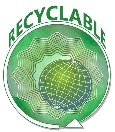 reciclable: Banner de verde con el globo en forma de estrella verde con la flecha redondeada, s�mbolo para el producto reciclable Vectores
