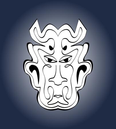 purgatory: Devil face, carnival mask. Monochromatic calligraphic symmetric drawing on dark blue gradient background. Vector illustration Illustration