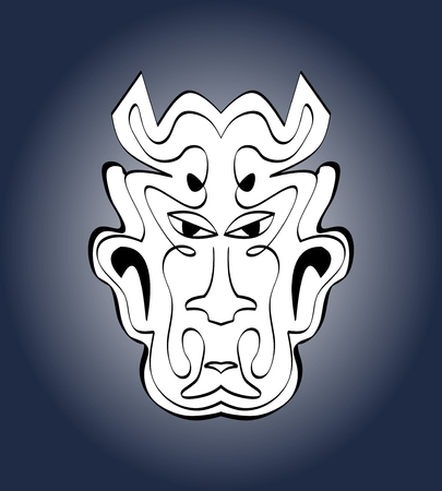 Devil face, carnival mask. Monochromatic calligraphic symmetric drawing on dark blue gradient background. Vector illustration Illustration