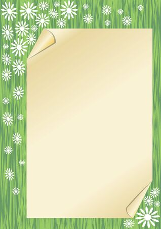 grass area: Spring background with a sheet old paper with rolled corners on green area like spring grass with small white flowers. Blank vector background with empty area for own text.