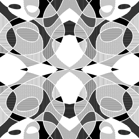 fragments: White and black geometric mosaic background with hatched fragments, vector patterned tile Illustration