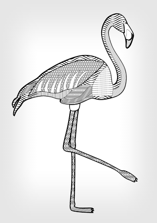 hatched: Flamingo in hatched design, isolated bird drawing with ornament on body on grey gradient background, tattoo template