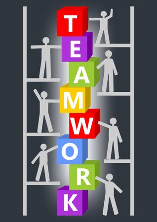 Team work presentation slide with inscription on colorful cubes and people figures on scaffolding or ladder. Image resembling a construction kit, graphic supplement to training