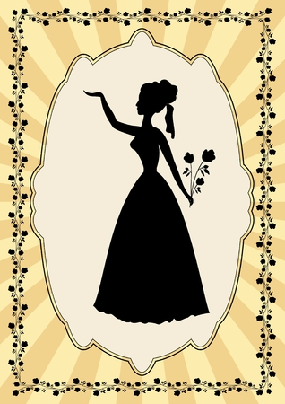 prom: Black lady silhouette in vintage frame with flower motif in art deco style. Elegant old fashioned poster, useful as an invitation to prom, celebration, party, greeting Illustration