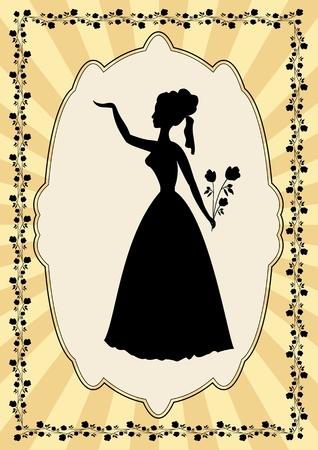 siluetas de mujeres: Silueta dama negro en marco de la vendimia con adorno de flor en estilo art deco. Cartel pasado de moda elegante, útil como una invitación al baile, celebración, fiesta, saludo Vectores