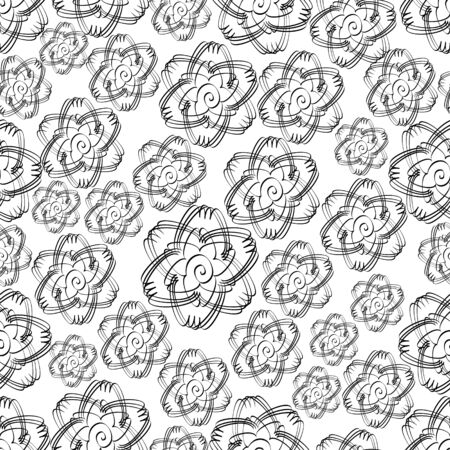 sketched shapes: Monochromatic vector seamless background in white and black. Grunge flower ornament