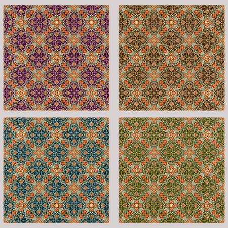 nostalgic: Art deco vector background set in different color variants. Fine geometric diagonal stripped ornament, seamless tile in nostalgic colors.