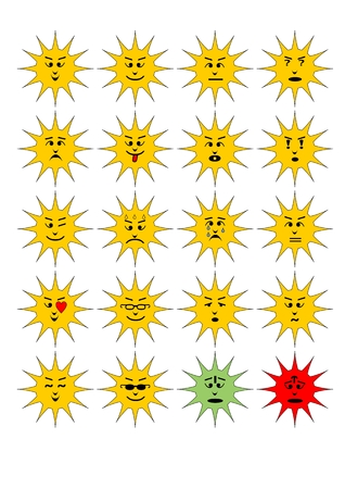 scheming: Set of sun shape emoticons, collection of isolated vector emoji.