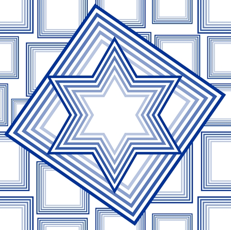 chanuka: David star vector in outline blue design on white background. National Israel symbol in national Israel colors.